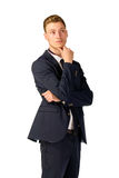 Young businessman full length portrait. Young business man thinking portrait isolated Stock Image