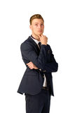 Young businessman full length portrait. Young business man thinking portrait isolated Royalty Free Stock Images