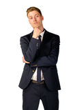Young businessman full length portrait. Young business man thinking portrait isolated Stock Photo
