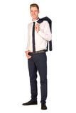 Young businessman full length portrait. Isolated Royalty Free Stock Photos