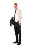 Young businessman full length portrait. Isolated Royalty Free Stock Photography