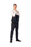 Young businessman full length portrait. Isolated Royalty Free Stock Images