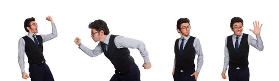 The young businessman in funny concept on white stock photos