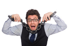 Young businessman in funny concept on white Royalty Free Stock Images