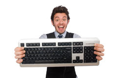 Young businessman in funny concept on white Royalty Free Stock Image