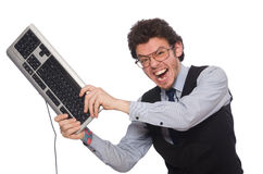 Young businessman in funny concept on white Royalty Free Stock Photo