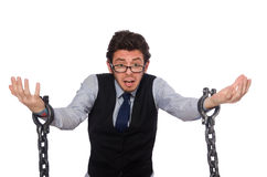 The young businessman in funny concept on white Stock Images
