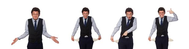 The young businessman in funny concept on white royalty free stock photos