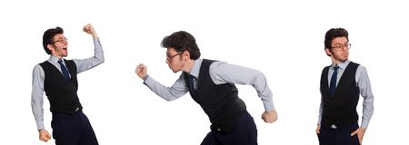 The young businessman in funny concept on white royalty free stock photo