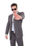 Young businessman gesturing stop sign Stock Images