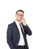 Young businessman get a convertation on his handphone Royalty Free Stock Photography