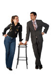 Young businessman and girl with stool Royalty Free Stock Image