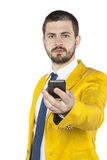 Young businessman gives the phone Stock Photo