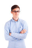 Young businessman in glasses with crosses hands isolated Stock Images
