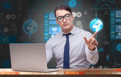 The young businessman in global business concept Royalty Free Stock Photography