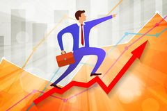 Free Young Businessman Going Up On Growing Steps Arrow And Points Forward In Direction Of Movement With Business Statistics Chart Royalty Free Stock Photo - 157275495
