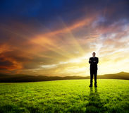 Young businessman on green field. And sunset Stock Image