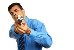 Young businessman with gun Royalty Free Stock Images
