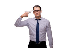 The young businessman with gun isolated on white Royalty Free Stock Images