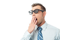 Young businessman, hand on mouth Royalty Free Stock Photo