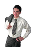 Young businessman happy. Holding his jacket Royalty Free Stock Images