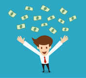 Young businessman happy falling the money Royalty Free Stock Photography