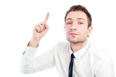 Young businessman has an idea. Portrait of young businessman with idea, finger up Isolated on white Stock Photos