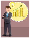 Young businessman has profitable idea. For business growth. This is an EPS 10 vector file with neatly named, editable layers Stock Photo