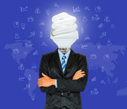 Young businessman have a head as lamp with creativity for succes. Stock Image