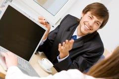 Young businessman having a conversation Stock Photos