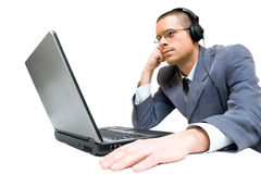 Young businessman with headphones Stock Photo