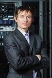 Young businessman in hi-tech datacenter Royalty Free Stock Photography