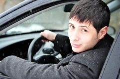 Young businessman in his car Royalty Free Stock Images