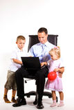 Young businessman with his son and daughter Royalty Free Stock Photo