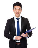 Young businessman hold with clipboard Stock Images