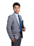 Young businessman hold with clipboard Royalty Free Stock Image