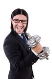 Young businessman holding barbell isolated on Stock Photography