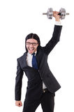 Young businessman holding barbell isolated on Stock Photos