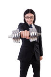 Young businessman holding barbell on Stock Image