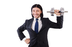 Young businessman holding barbell isolated on Royalty Free Stock Image
