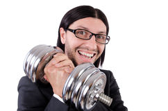 Young businessman holding barbell isolated on Stock Image