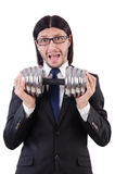 Young businessman holding barbell isolated on Royalty Free Stock Images