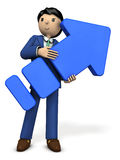 A young businessman holding a big arrow. 3D illustration Royalty Free Stock Image