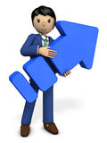 A young businessman holding a big arrow. 3D illustration Stock Photo