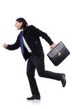 Young businessman holding briefcase isolated on Royalty Free Stock Photo