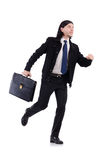 Young businessman holding briefcase isolated on Royalty Free Stock Photography