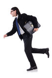 Young businessman holding briefcase isolated on Royalty Free Stock Images