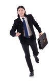 The young businessman holding briefcase isolated Royalty Free Stock Photography