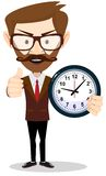 Young businessman holding a clock in office. And shows a sign that all is well Stock Photography