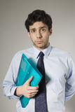 Young Businessman Holding Documents Royalty Free Stock Images